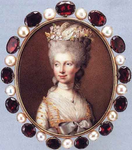 Heinrich Hurter's 1781 miniature of Queen Charlotte, wife of George III of England, framed with pearls and rubies. Formerly a princess of Mecklenburg-Strelitz, she has been proposed as the namesake of the classic desserts known as Charlottes. The miniature is held by The Rosalinde and Arthur Gilbert Collection in London, England.