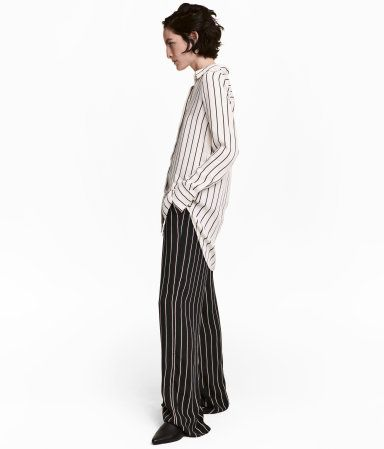 Long-sleeved blouse | Light beige/Striped | Ladies | H&M TH