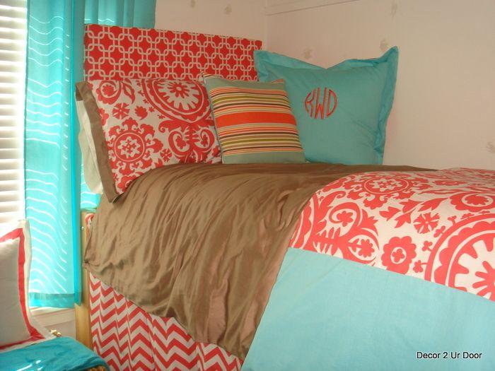 tiffany blue and corral   Tiffany Blue and Coral Beautiful Bedding DSC01662 – Decor 2 Ur Door