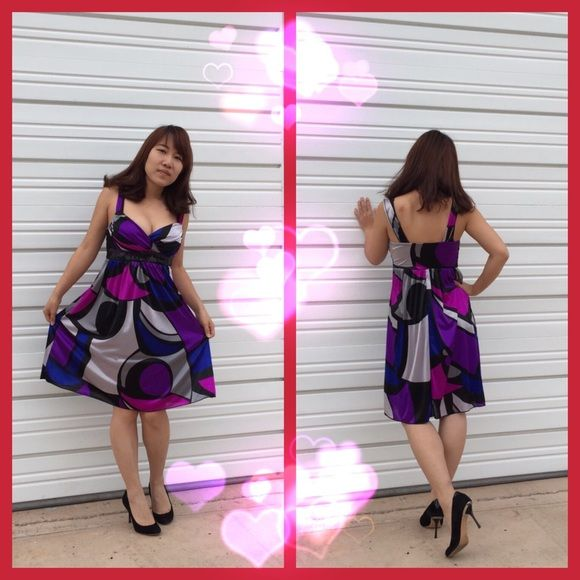 Elegant Purple Formal Dress  This pretty and sexy purple dress is a perfect outfit for the Valentine's day Full lined, with a black sequins belt. 100% polyester. Dresses