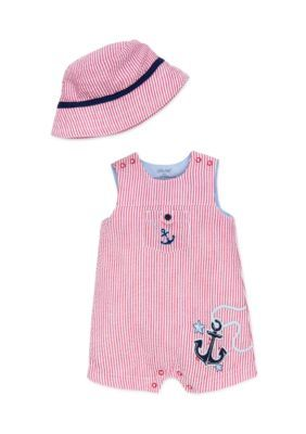 Little Me Red 2-Piece Nautical Hat and Romper Set