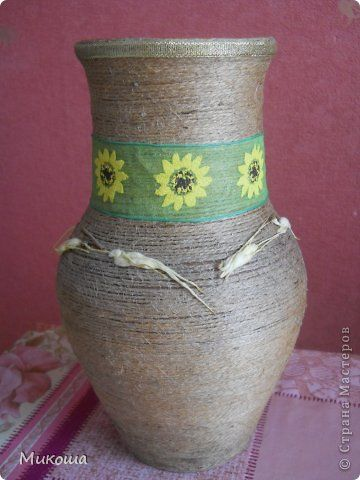 Декор предметов Шпагатное настроение Бумага гофрированная Бутылки стеклянные Коробки Кофе Шпагат фото 4