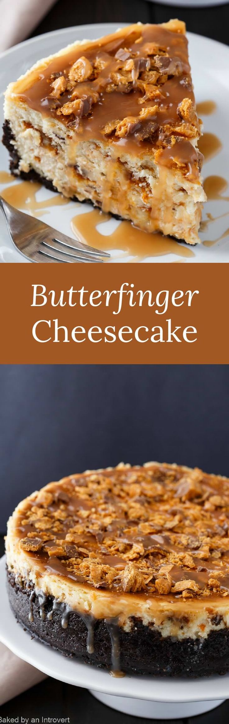 There is so much to love about Butterfinger Cheesecake with Caramel Drizzle. Butterfinger bars and cheesecake is an incredible combination. via @introvertbaker