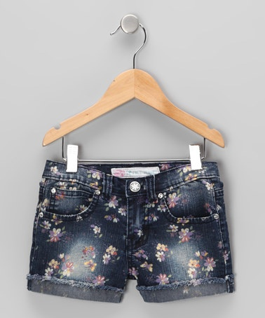 Take a look at this Distressed Indigo Floral Denim Shorts - Girls by Free Planet on #zulily today!