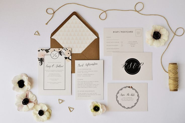 If you want an update to classic floral wedding invitations, I've got just the set for you. It incorporates beautiful botanicals with modern typography