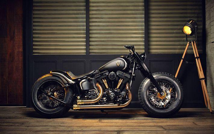 Download Hintergrundbilder steilen Motorrad-Chopper, Motorrad schwarz, goldene Auspuffrohre, Motorrad-Tuning, einzigartige Motorräder   – Gang