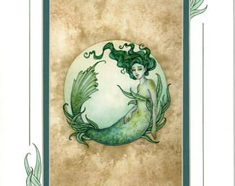 Hand Accented Water Element Mermaid PRINT 5x7 matted 8x10 by Amy Brown