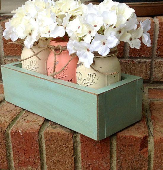 Custom Made Rustic Planter Box with 3 Painted Mason Jars. Rustic Home Decor. Housewears. Wedding Decor. Rustic Wedding Decor. Home