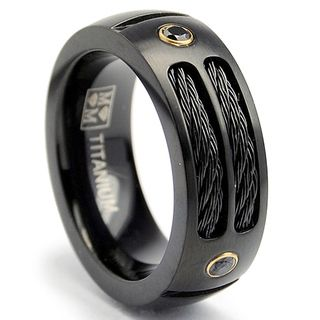 @Overstock.com - Oliveti Black-plated Titanium Men's Steel Cable and Black CZ Band (8 mm) - Black cubic zirconia bandBlack titanium and stainless steel cable jewelryClick here for ring sizing guide  http://www.overstock.com/Jewelry-Watches/Oliveti-Black-plated-Titanium-Mens-Steel-Cable-and-Black-CZ-Band-8-mm/7896225/product.html?CID=214117 $33.99