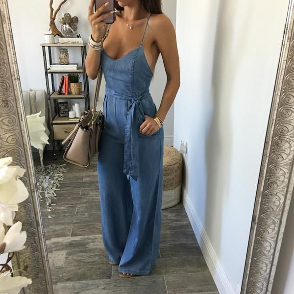 Would wear it higher up on the chest - tighten the straps a bit to keep it sexy but classy (Ally Denim Jumpsuit)