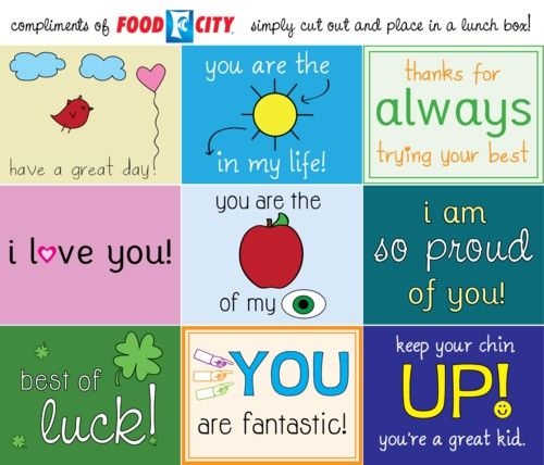 A collection of several different lunch box note printables. These are cute!