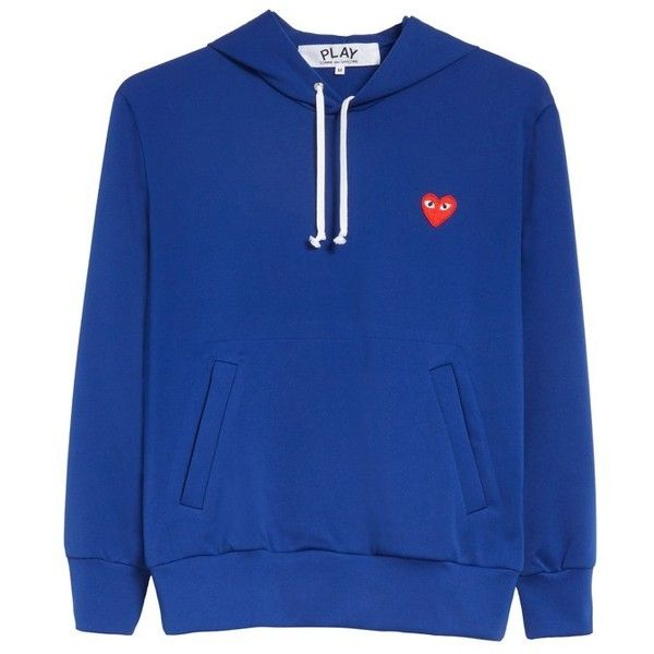 Men's Comme Des Garcons Play Pullover Hoodie ($272) ❤ liked on Polyvore featuring men's fashion, men's clothing, men's hoodies, navy, mens navy hoodie, mens navy blue hoodie, mens hoodie, mens sweatshirts and hoodies and mens hoodies