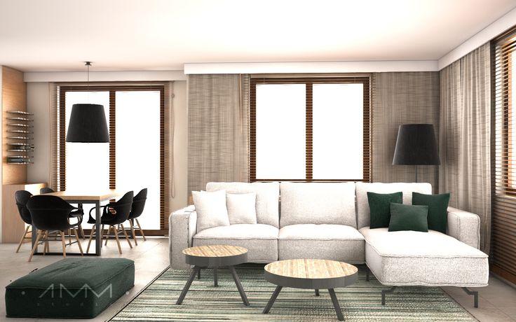Green interior - house in Krakow designed by 1mm. studio