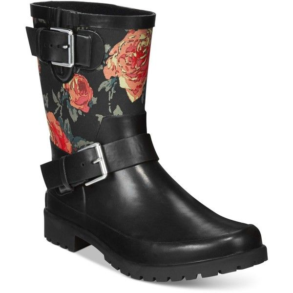 Lauren Ralph Lauren Mora Rain Boots ($22) ❤ liked on Polyvore featuring shoes, boots, black floral, wellington boots, wellies boots, black shoes, floral shoes and black wellington boots