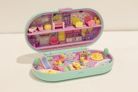 1992 Vintage Polly Pocket - Babysitting Stamper Set - Nearly Complete (Bluebird Toys)