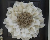 Make a statement with this Beautiful Large Burlap Flower Wreath!  Would be perfect for your front door or even a wedding!  Everyday wreath!