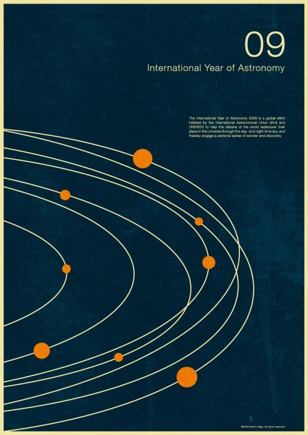 international year of astronomy 2009 posters from simon page. retro perfection.