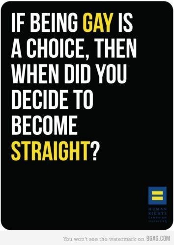 "One of my Pinterest Favs: ""If being gay is a Choice, then when did you Decide to become straight?"""