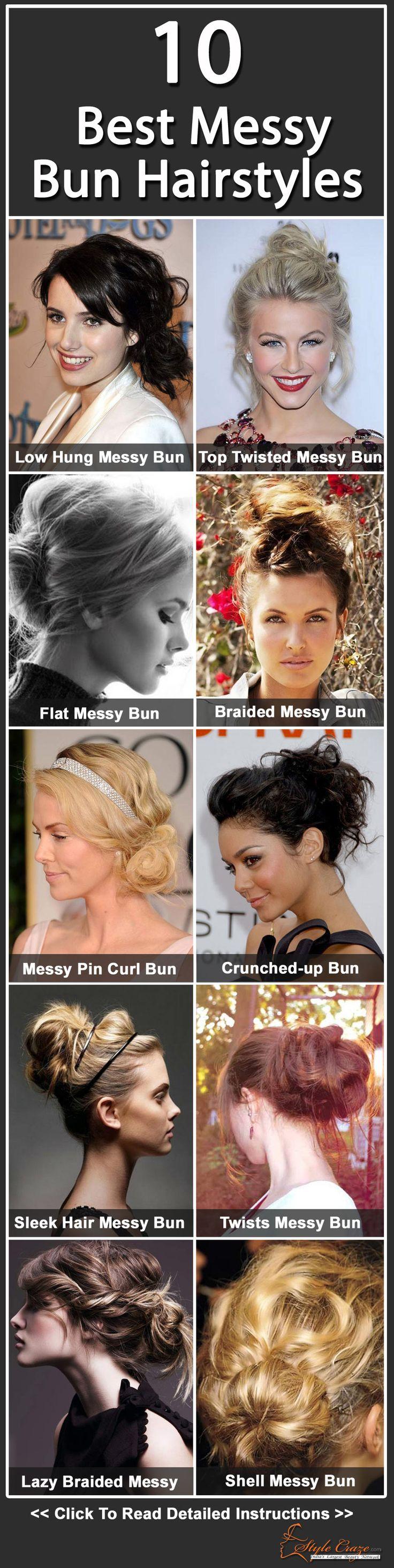 18 Stunningly Easy DIY Messy Buns   Messy bun hairstyles, Bun ...