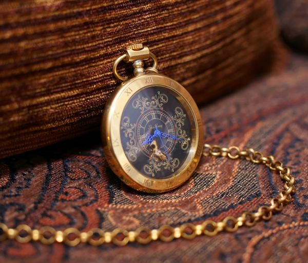 Antiqued Gold Pocket Watch Copper Steampunk Winding Mechanical Vintage-y pocket watch- Father of the Birde VM012