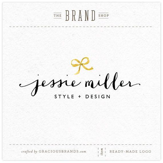 Gracious Brands NEW Etsy shop!  Premade Logo Design ~ Golden Bow