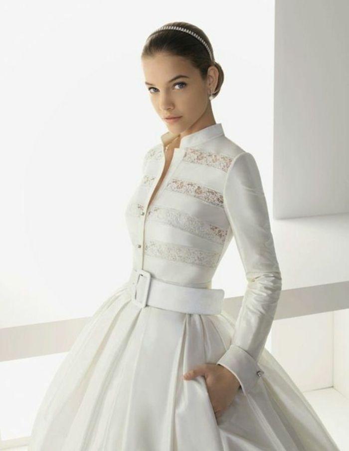 Une robes de mariée pour l'hiver avec manches