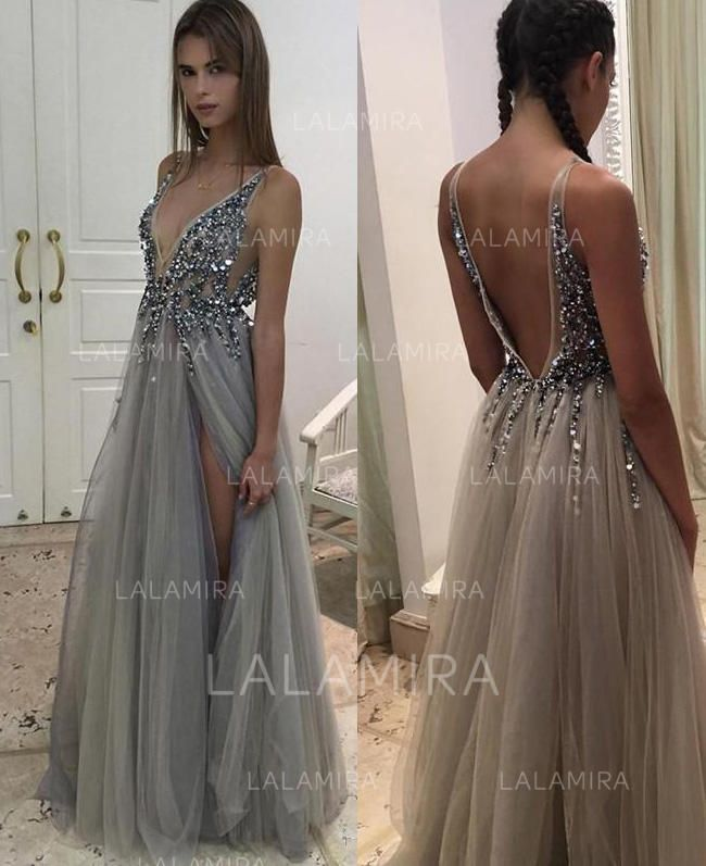 e63c533f598fd A-Line Princess V-neck Floor-Length Tulle Prom Dress With Beading Sequins Split  Front (002148413) - Prom Dresses - lalamira