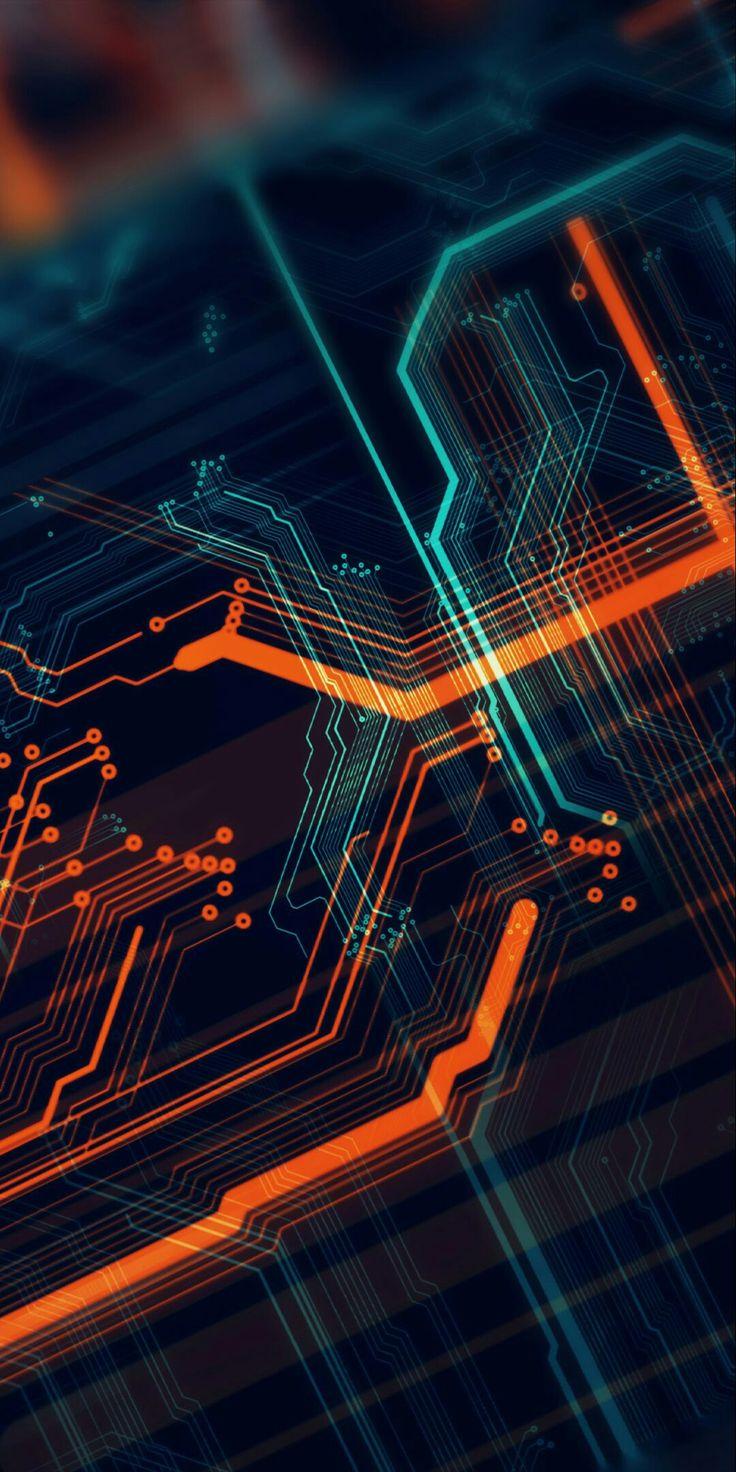 Wallpaper modern art circuit design