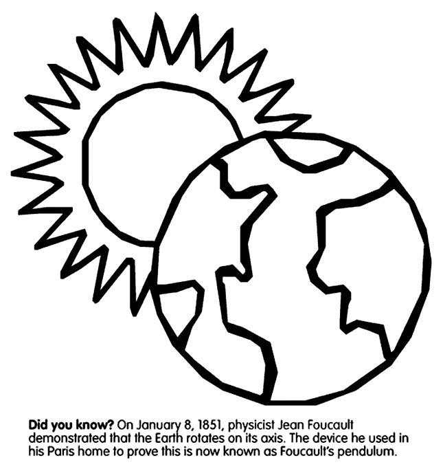 Earth's Rotation coloring page Science Pinterest