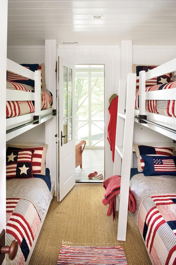97 best images about bunk beds guest rooms on pinterest beach houses built in bunks and nautical - Lake house decorating ideas easy ...