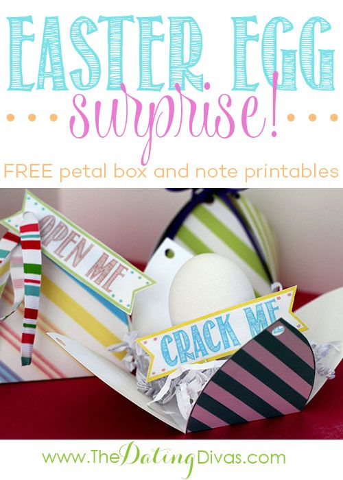 Sweetest Easter surprise! Love the free notes and fun petal boxes, too!Petals Boxes, Crack Me Lov, Eggs Surprise, Boxes Printables, Easter Boyfriend, Easter Eggs, Eggs Crafts, Fun Petals, Eggs Hunting