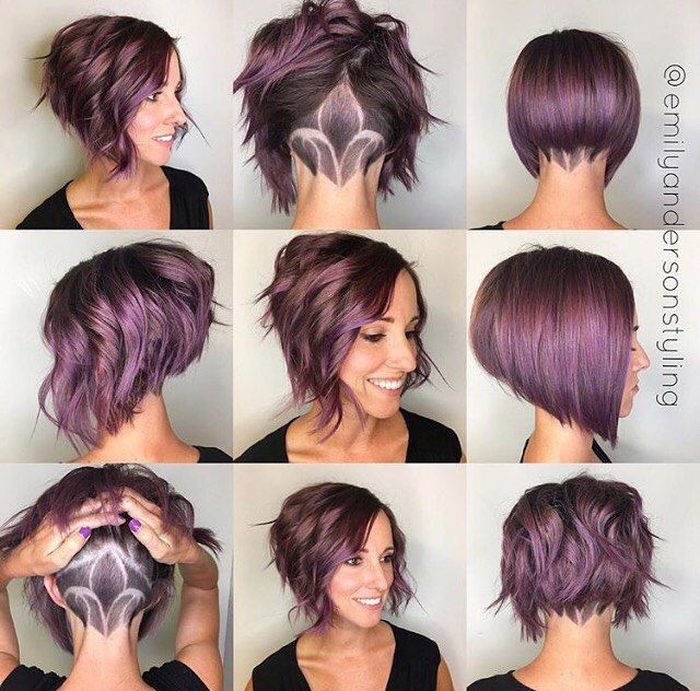 While I think this color is fun...I couldn't do it....what I like about this is the variety of styling options it shows: curly, straight etc.  I wouldn't got for the shaved design, though