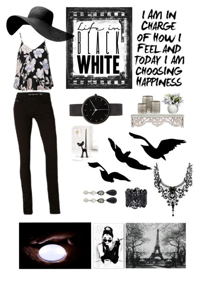 Life in Black & White! by navyaonline on Polyvore featuring Ally Fashion, I Love Ugly, Oscar de la Renta, Oliver Gal Artist Co. and Calvin Klein