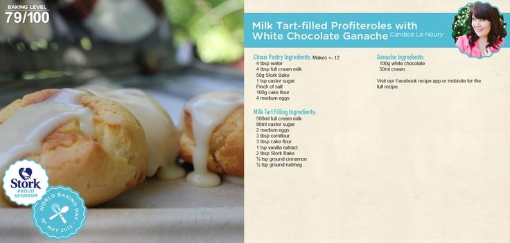 Milk tart profiteroles with chocolate ganache #recipe