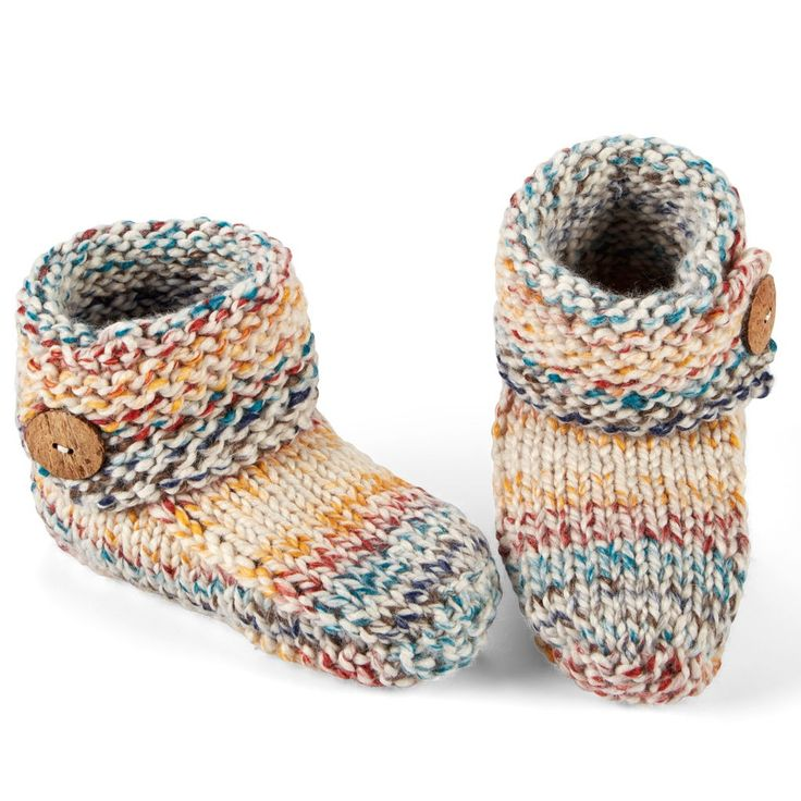 Keep your toes warm and cozy when you make these Lion Brand® Wool-Ease® Thick & Quick® Knit Slippers