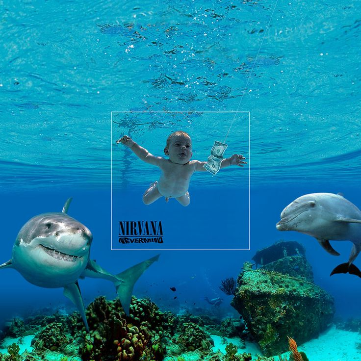 """Nirvana """"Nevermind"""", 1991 / """"We primarily did these for fun and to show off our creative side here at Aptitude. We also tried to incorporate the real-life in some of them"""" - aptitude.co.uk"""