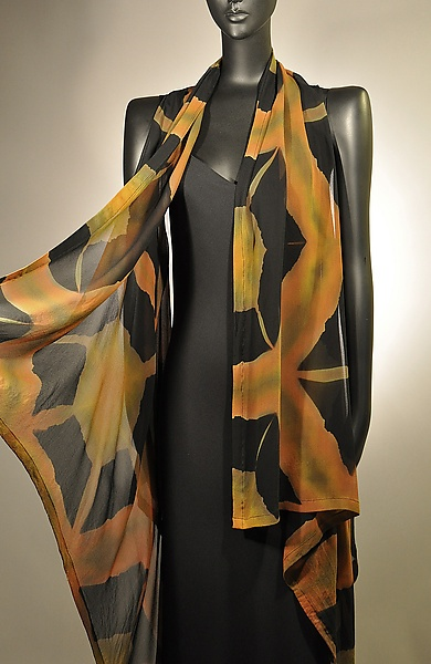 """Tortoise Shell Willow Vest"" created by Michael Kane & Steve Sells  (hand-dyed silk chiffon; dye pattern is a result of the process known as Itajimi Shibori)"