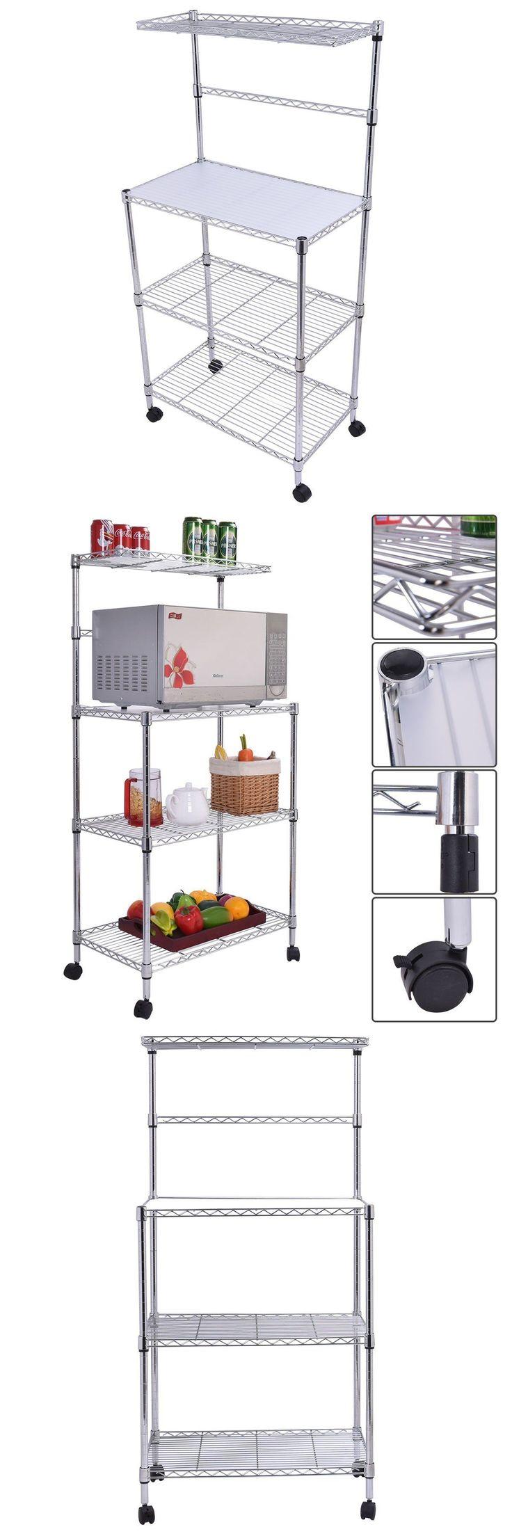 Homegear deluxe kitchen storage cart island w rubberwood cutting block - Bakers Racks 20482 3 Tier Kitchen Baker S Rack Microwave Oven Stand Storage Cart