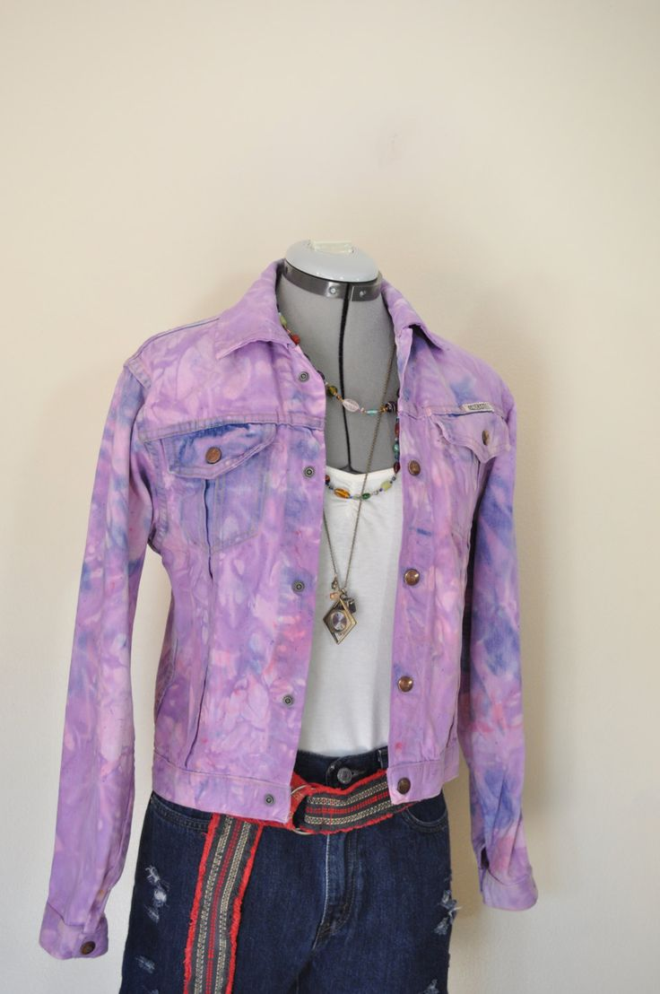 Lavender Pink Childs Large Denim JACKET - Pastel Dyed Upcycled Vintage Goucho Denim Trucker Jacket - Child Youth Size Large (36 chest) by DavidsonStudio on Etsy