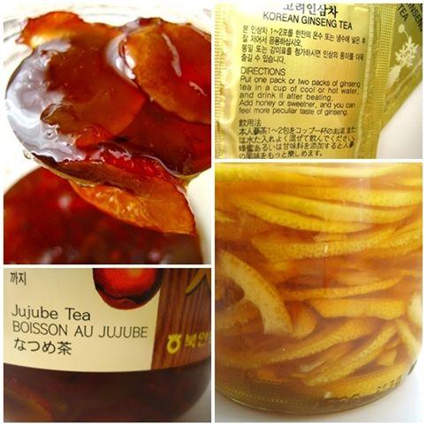 In Honig eingelegt: Yuja Cha (Yuzu Tee), Mogwa Cha (Quitten Tee), Daechu Cha (Jujube/Dattel Tee), Hongsam Cha (Roter Ginseng Tee) Alle Sorten werden in hauchdünne Scheiben geschnitten und in Honig ...