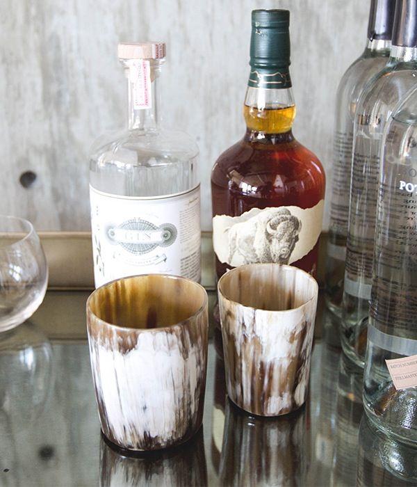 Rose & Fitzgerald   Cow Horn Whisky Tumbler Set
