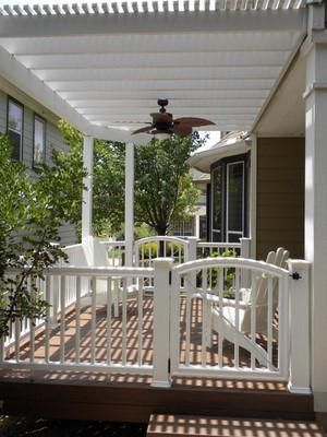 porches with railings and pergodas | Modern and cozy Aluminum pergola, vinyl rail, and composite deck in ...