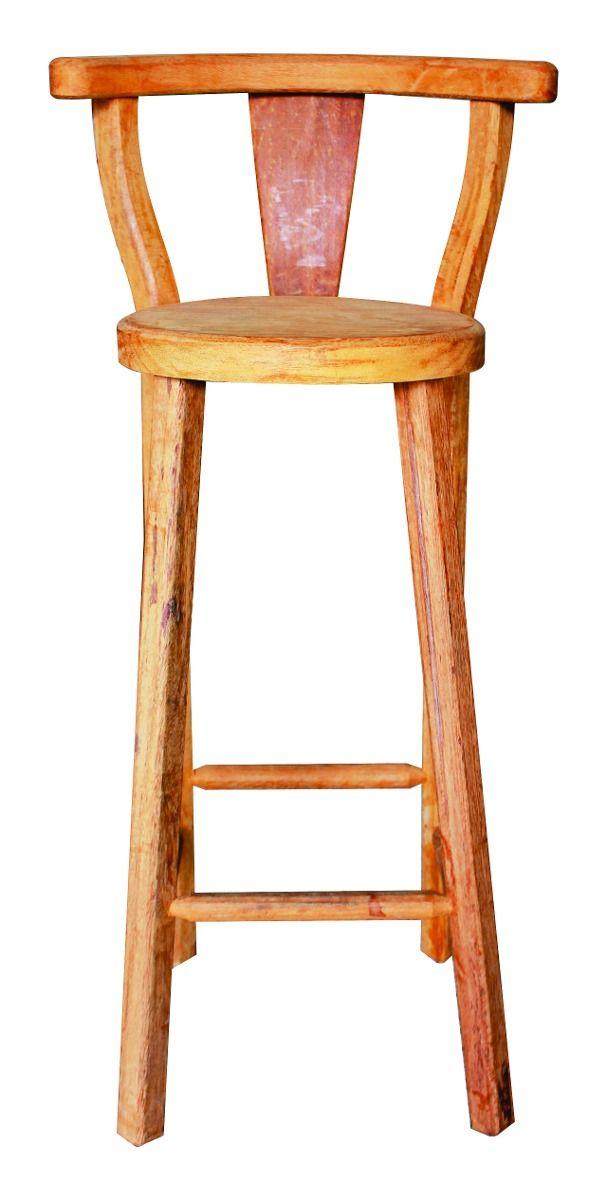 banqueta em madeira maciça alta com encosto - angelim - 12x                                                                                                                                                     Mais