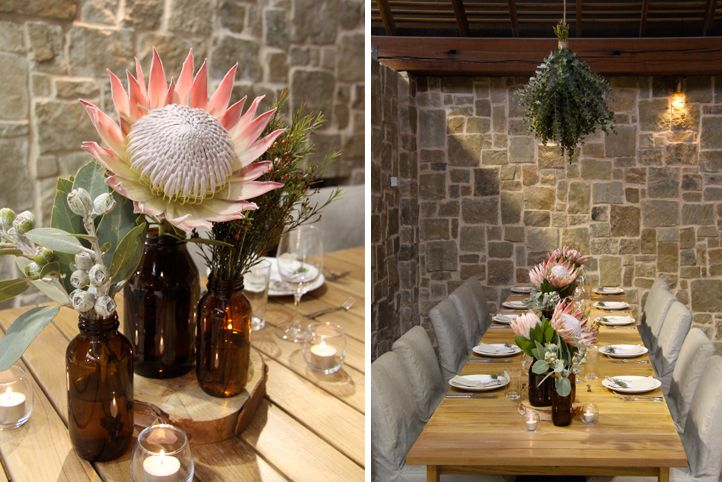 LETTUCE & CO - STYLE. EAT. PLAY 'natural, native, humble - client luncheon' concept design & styling by lettuce & co, native installation, protea table centrepieces