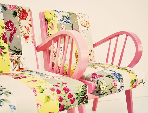 floral pink armchairs