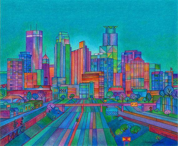 Minneapolis Skyline in Summer Colors by MadelineBestesArt on Etsy, $30.00