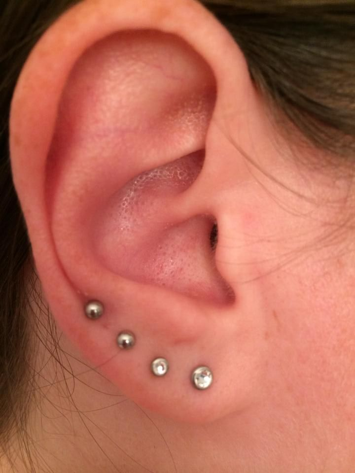 My Quadruple Lobe Piercing First Two Are 4mm And 3mm Bezel Set Clear Studs Last Surgical Steel When The H Tattoos Piercings In