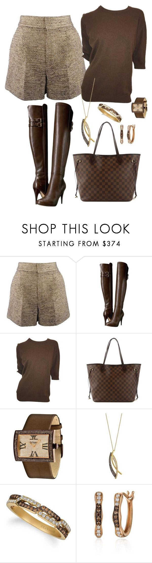 """""""shorts and boots"""" by mynextlife ❤ liked on Polyvore featuring Chloé, MICHAEL Michael Kors, Chanel, Louis Vuitton and LE VIAN"""