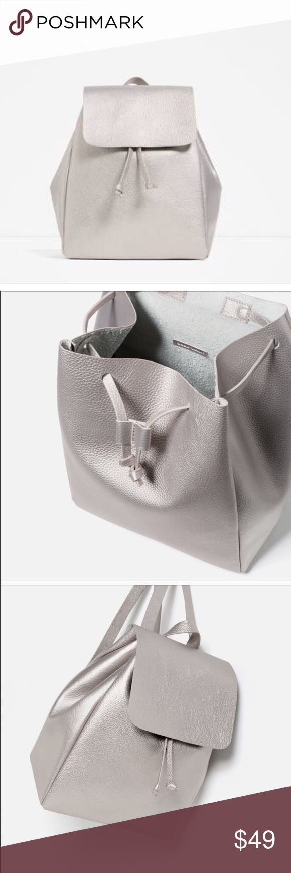 Zara TRF Silver Backpack No tags but brand new Zara Bags Backpacks