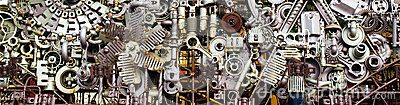 Abstract background of differently assembled metal machine parts. For enthusiastic mechanics. Large format photo to download.